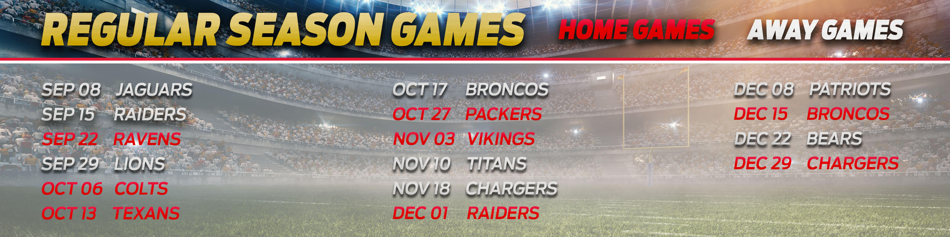 Chiefs Regular Season Games Schedule 2019